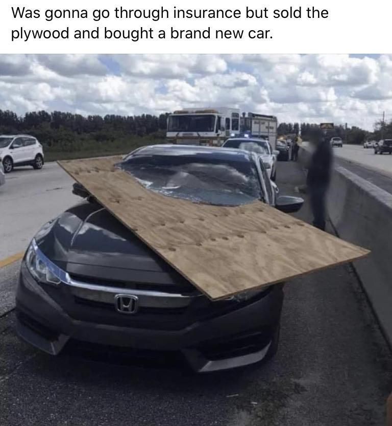Plywood in car